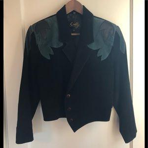 Jackets & Blazers - Vintage suede leather crop jacket w/ patchwork